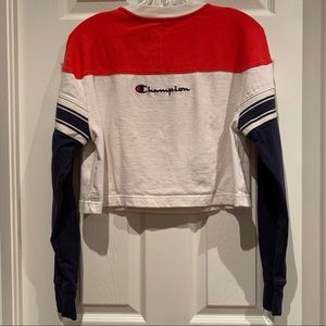 Champion | Colour Blocked Crop Hoodie | Red/White